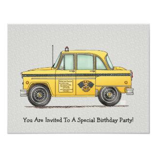 Cute Taxi Cab 4.25x5.5 Paper Invitation Card