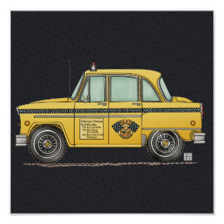 Cute Taxi Cab Poster