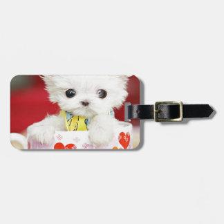cute tea cup puppy luggage tag