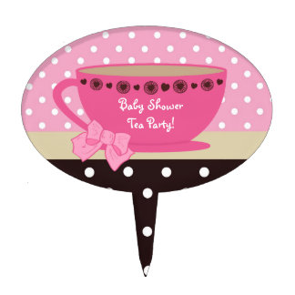 Cute Tea Party Baby Shower Pink Polka Dot Bow Cake Topper