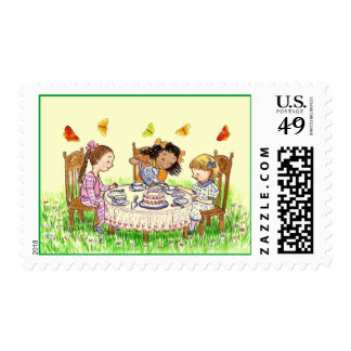 CUTE TEA PARTY GIRLS & BUTTERFLIES INVITE STAMPS