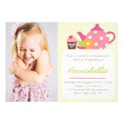 Cute Tea Party Kids Photo Birthday Invitation