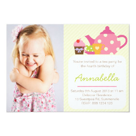 Cute Tea Party Kids Photo Birthday Invitation 5