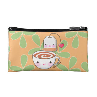 Cute Tea & Teabag Pals Small Cosmetic Bag