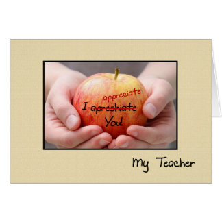 Cute Teacher Appreciation Apple For Teacher Card