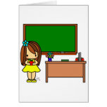 Cute Teacher in her classroom holding an apple Greeting Cards