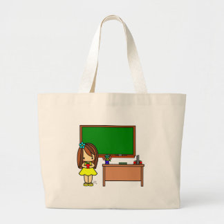 Cute Teacher in her classroom holding an apple Large Tote Bag
