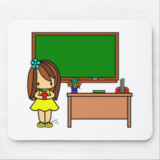 Cute Teacher in her classroom holding an apple Mouse Pads