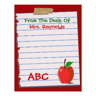 Cute Teacher Stationery Customized Letterhead