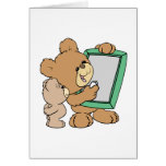 cute teacher teddy bear with chalkboard greeting card