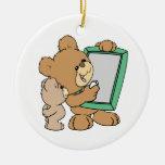 cute teacher teddy bear with chalkboard ornaments