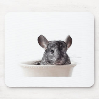 Cute Teacup Chinchilla Grey Mouse Pad