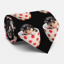 Cute Teacup Puppy Pattern on Black Tie