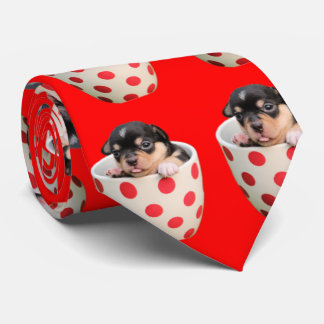 Cute Teacup Puppy Pattern on Red Tie