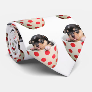 Cute Teacup Puppy Pattern on White Tie