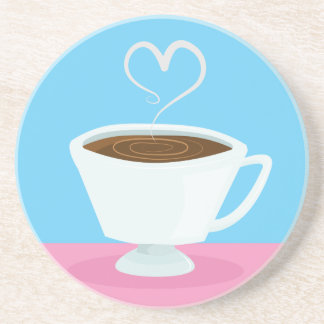 Cute Teacup with heart steam Drink Coasters