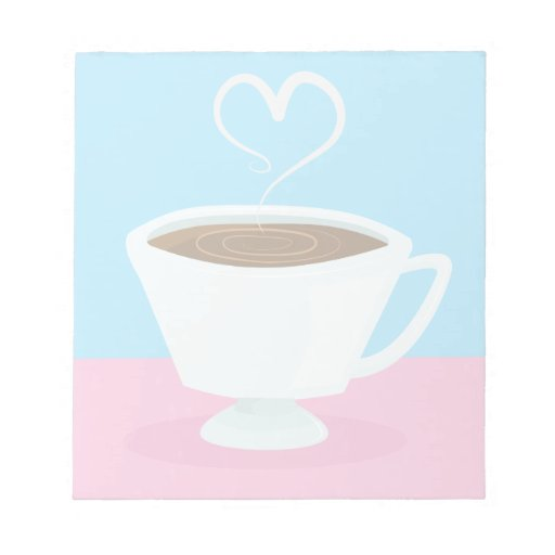 Cute Teacup with heart steam Notepad