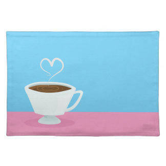 Cute Teacup with heart steam Placemat