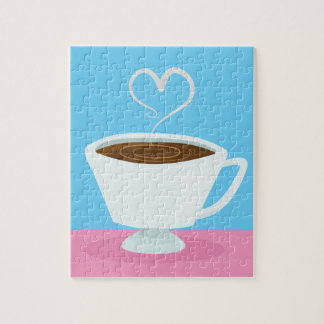Cute Teacup with heart steam Puzzle