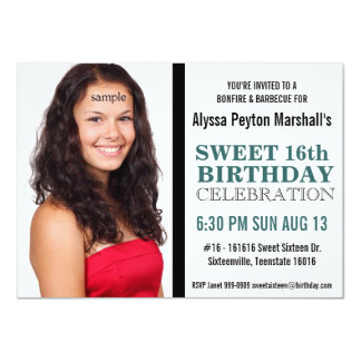 Cute Teal and Black Mod Text Photo Sweet 16 Party 4.5x6.25 Paper Invitation Card