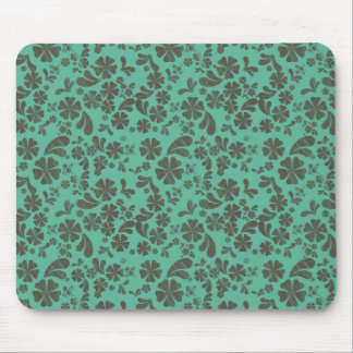Cute Teal and Brown Floral Design Mouse Pad