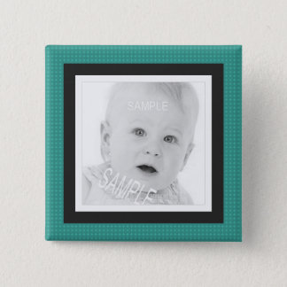 Cute Teal and Gray Instagram Photo Pinback Button