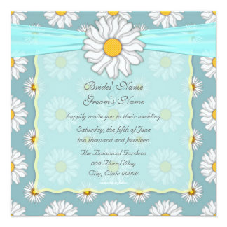 Cute Teal and White Daisy Floral Square Card