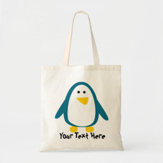 Cute Teal and White Penguin Tote Bag