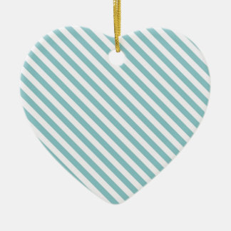 Cute Teal and White Stripes Ceramic Ornament