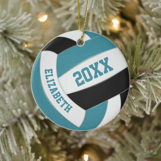 cute teal black white girly volleyball ceramic ornament