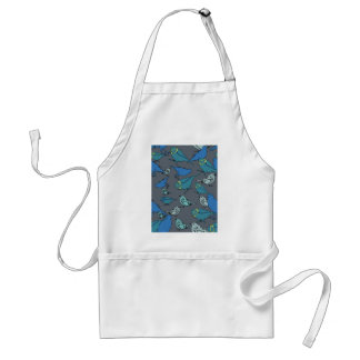 Cute teal, blue and grey Spring birds pattern. Adult Apron