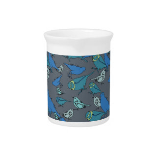 Cute teal blue and grey Spring birds pattern Beverage Pitcher