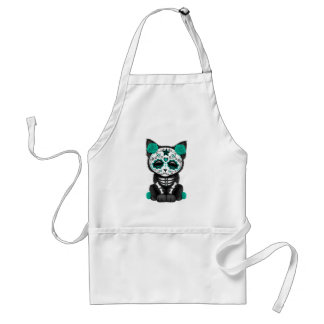 Cute Teal Blue Day of the Dead Kitten Cat Apron