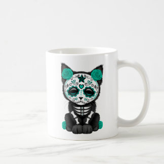 Cute Teal Blue Day of the Dead Kitten Cat Coffee Mug