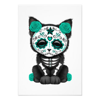 Cute Teal Blue Day of the Dead Kitten Cat Personalized Invitation