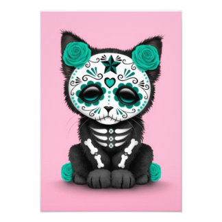 Cute Teal Blue Day of the Dead Kitten Cat pink Invite