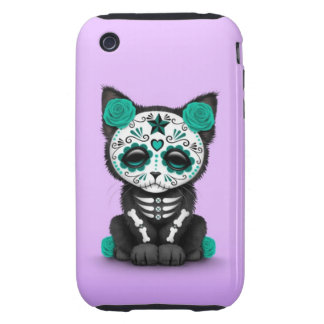 Cute Teal Blue Day of the Dead Kitten Cat purple iPhone 3 Tough Cover
