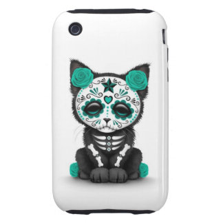 Cute Teal Blue Day of the Dead Kitten Cat white iPhone 3 Tough Cover
