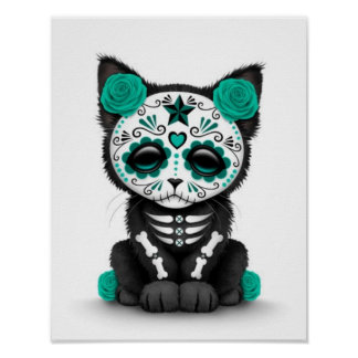 Cute Teal Blue Day of the Dead Kitten Cat, white Poster