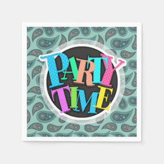 Cute Teal Blue Green Paisley Pattern Paper Napkin