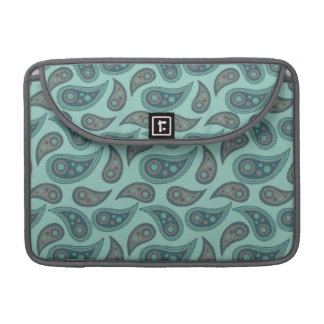 Cute Teal Blue Green Paisley Pattern Sleeve For MacBook Pro