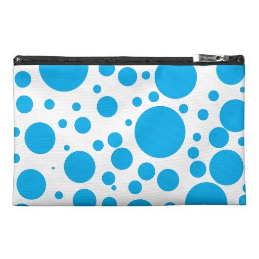 Cute Teal Blue Polka Dots Circles Pattern Travel Accessory Bag