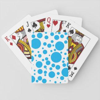 Cute Teal Blue Polka Dots Circles Pattern Playing Cards