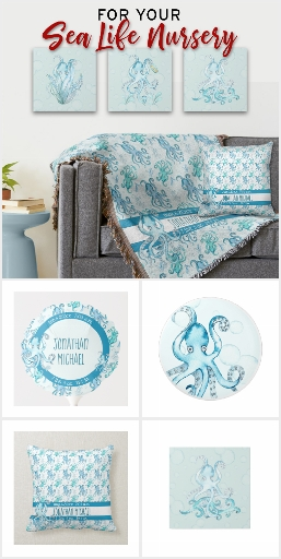 Cute Teal Blue Sea Life Octopus Nursery + Gifts