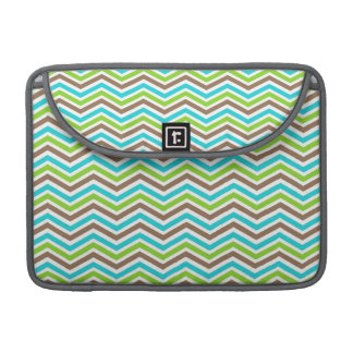 Cute Teal, Brown, and Green Chevron Stripes Sleeve For MacBook Pro