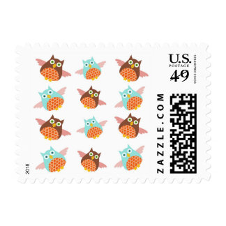 Cute teal brown cartoon owl postage stamps