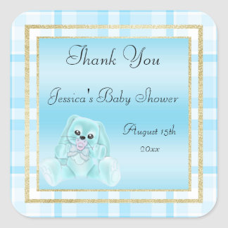 Cute Teal Bunny Thank You Baby Shower Square Sticker