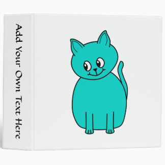 Cute Teal Cat. Binder