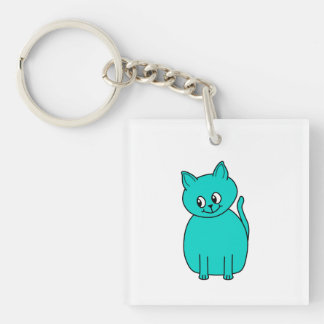 Cute Teal Cat. Single-Sided Square Acrylic Keychain