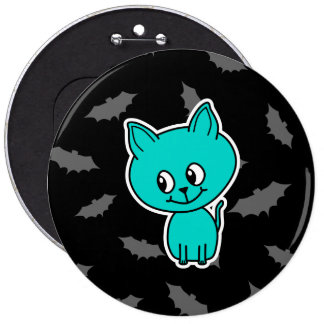 Cute Teal Cat with Bats. Button